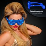 Promotional Blue Light Up Slotted Sunglasses - Overseas Imprint