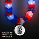 Custom Red, White & Blue LED Hawaiian Lei with Custom White Medallion - Domestic Imprint