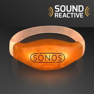 Sound Activated Light Up Orange Led Flashing Bracelets 11819 Or 60 Ideastage Promotional Products