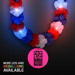 Custom Red, White & Blue LED Hawaiian Lei with Custom Pink Medallion - Overseas Imprint