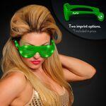 Custom Promo Green Light Up Slotted Sunglasses - Domestic Imprint