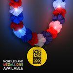 Custom Red, White & Blue LED Hawaiian Lei with Custom Yellow Medallion - Overseas Imprint