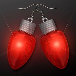 Custom Red LED Flashing Light Bulb Christmas Earrings