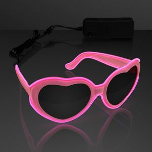 EL Wire Glowing Pink Heart Sunglasses