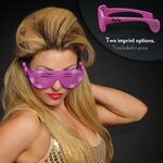Imprintable Pink Light Up Slotted Sunglasses - Domestic Imprint