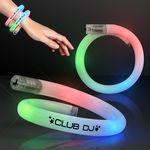 Custom White Tube Bracelets w/Flashing Rainbow LEDs