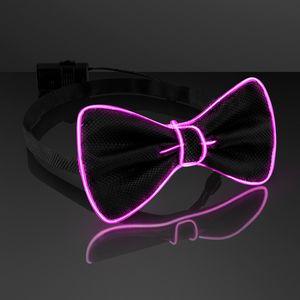 Custom Light Up Pink EL Wire Bow Tie