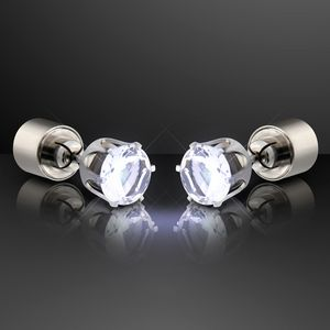 Custom White LED Faux Diamond Pierced Earrings