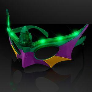 Purple, Green & Gold Mardi Gras Mask LED Shades - BLANK