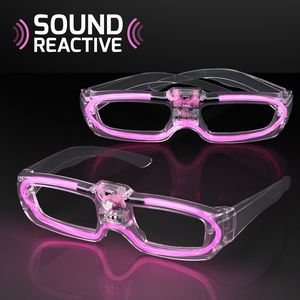 LED 80s Party Shades with Sound Activated Pink Lights