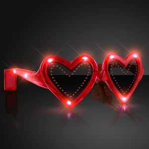 Heart Shaped Red Light Up Sunglasses