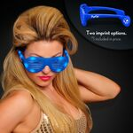 Promotional Blue Light Up Slotted Sunglasses - Domestic Imprint