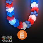 Custom Red, White & Blue LED Hawaiian Lei with Custom Orange Medallion - Domestic Imprint