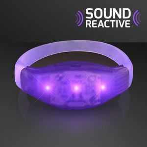 Custom Sound Activated Light Up Purple Flashing Bracelets
