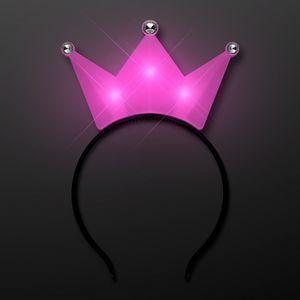 Custom LED Pink Crown Tiara Headbands, Princess Party Favors