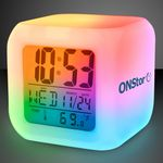 Imprinted Light Up Color Change LED Digital Alarm Clock - Overseas Print
