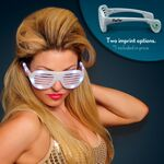 Promotional White Light Up Slotted Sunglasses - Domestic Imprint