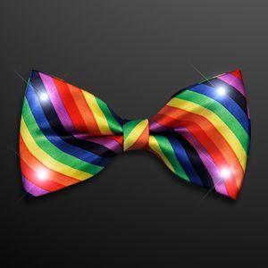 Custom White LED Rainbow Stripe Bow Ties