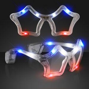 Red White & Blue Flashing LED Star Sunglasses - BLANK