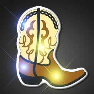 Custom Brown Cowboy Boot Flashing LED Pin - BLANK