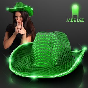 ff9e4b079ac3c Green Sequin Cowboy Hat w Jade LED Brim - 11832-GN - IdeaStage Promotional  Products