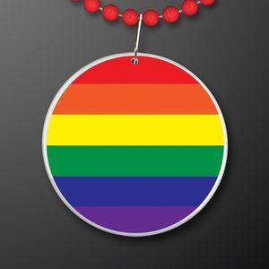 Custom Rainbow Flag Circle Medallion with Beaded Necklace (Non Light Up)