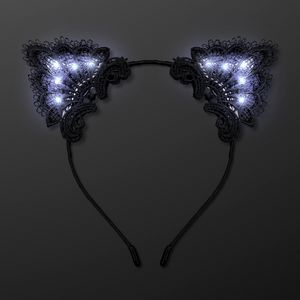 Custom White Lights Black Lace Cat Ears Hair Accessories