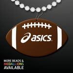Custom Football Shape Medallions with Beaded Necklace (Non Light Up)