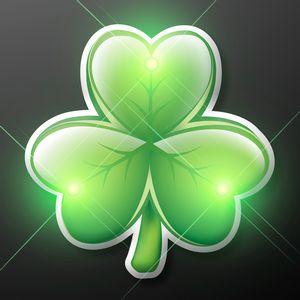 Custom Irish Shamrock Blinky LED Lapel Pins - BLANK