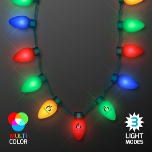 Christmas Light Necklace.Jumbo Christmas Bulb Light Necklaces Bulk Packaging