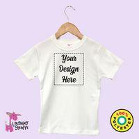 White Toddler Cap Sleeve Girls T-Shirt w/Scallop Trim