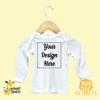 The Laughing Giraffe® Baby White Long Sleeve Lap T-Shirt w/Crew Neck