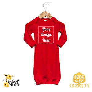 abaa41e20 The Laughing Giraffe® Long Sleeve Cotton baby Sleeper Gown w/ Fold-Over  Mittens - Bright Colors - LG2850B - IdeaStage Promotional Products