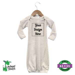 20ff5fc37 White Baby Long Sleeve 100% Polyester Gown - The Laughing Giraffe® -  LG4800W - IdeaStage Promotional Products