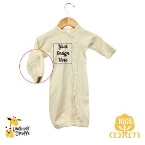 51f57cdb5 The Laughing Giraffe® Long Sleeve Button Down Cotton Baby Sleeper Gown -  Natural - LG2852N - IdeaStage Promotional Products