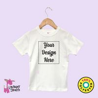 The Laughing Giraffe® White Baby Girls Short Cap Sleeve T-Shirt w/Scallop Trim