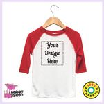 Baby Raglan Bodysuits - White w/Pink Long Sleeves - 65% Poly / 35% Cotton - Laughing Giraffe®