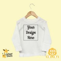 The Laughing Giraffe® Toddler White Long Sleeve T-Shirt w/Crew Neck