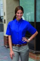 Ladies' Jonathan Corey Short Sleeve Heavyweight Washed Twill Shirt-Closeout