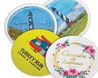 "4"" Round Fabric Coaster w/Neoprene Like Back (Multi-Color)"