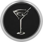 Custom Round Coaster Single - Black - Leatherette