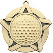"Super Star Medal - Golf - 2-1/4"" Diameter"