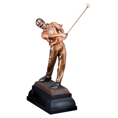 "Golfer, Male - Electroplated Bronze Sculpture - 12"" Tall"