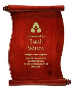 Scroll Plaque 9-1/2 x 12 Laser Engraved W/Gold Fill