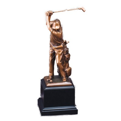 "Golfer, Male Electroplated Bronze Sculptures - 11"" Tall"