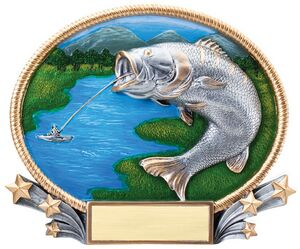 Fishing, Bass 3D Oval Resin Awards -Large - 8-1/4 x 7 Tall