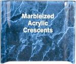 Custom Crescent Blue Marbleized Acrylic Award / Freestanding Curve - 4