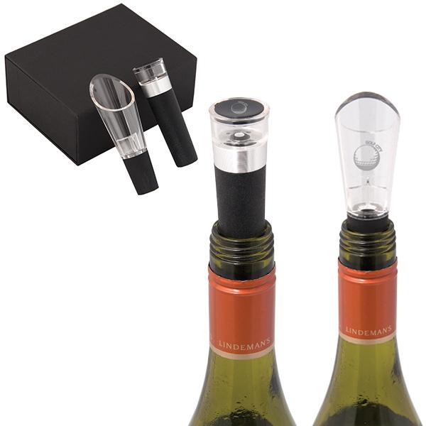 El Classico Wine Pourer And Stopper Gift Set, WK6427, 1 Colour Imprint