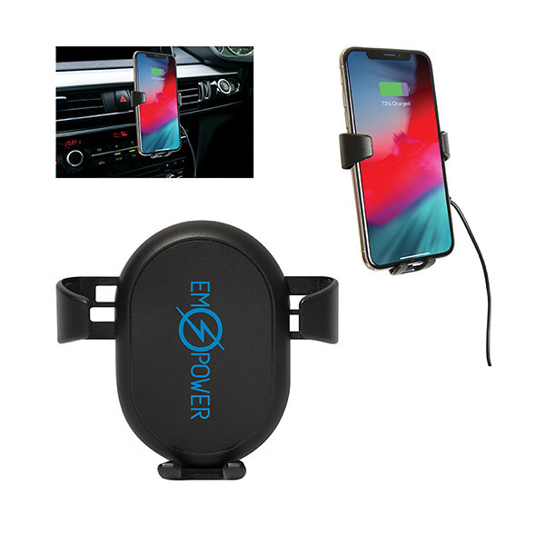 Induction Wireless Car Phone Charging Mount, CU9562, 1 Colour Imprint
