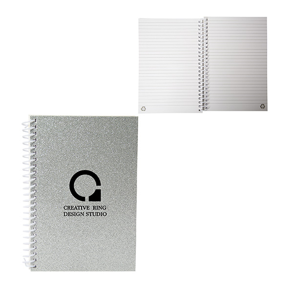 Jovi Glitter Spiral Journal, CA9517, 1 Colour Imprint